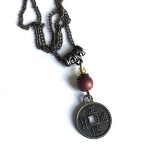 NECKLACE - Chinese Coin Antique Bronze Tone
